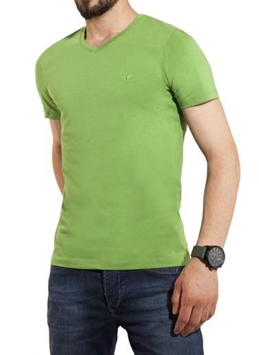 Comienzo V Yaka Tişört Yeşil